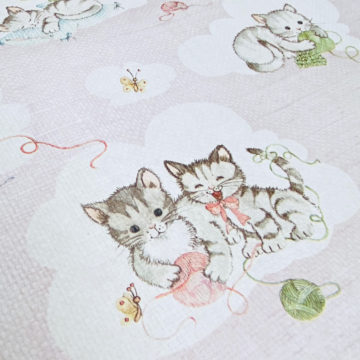 Vintage Pink Wallpaper with Cats 5