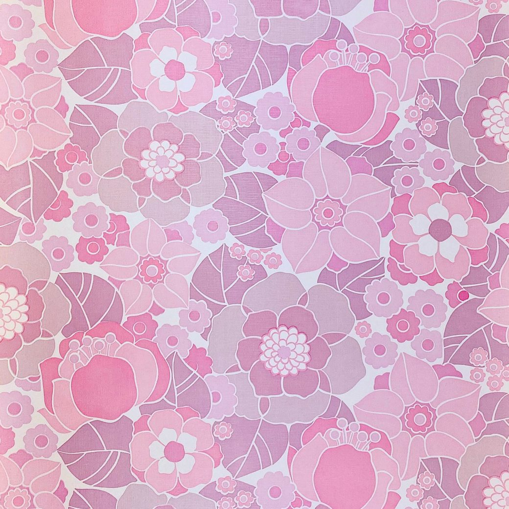 Vintage Retro Floral Wallpaper Pink and Purple 1