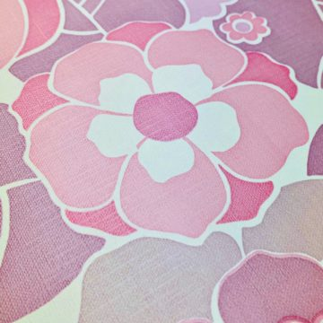 Vintage Retro Floral Wallpaper Pink and Purple 6