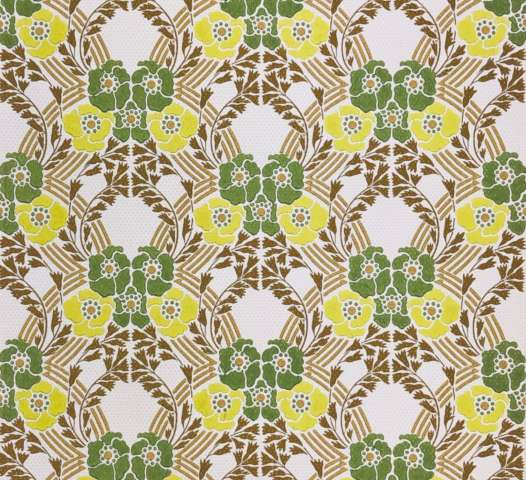 Vintage retro wallpaper green yellow flowers
