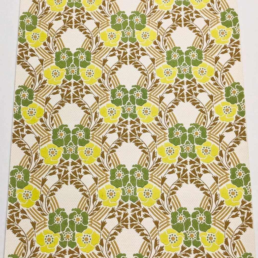 Vintage retro wallpaper green yellow flowers 1 2