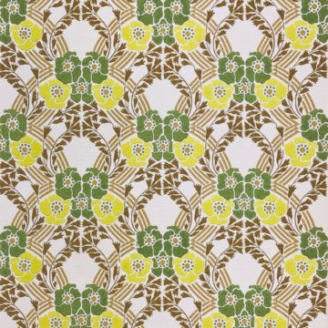 Vintage retro wallpaper green yellow flowers 3