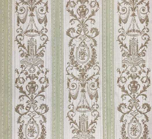 Vintage Stripe Baroque Wallpaper Brown and Green