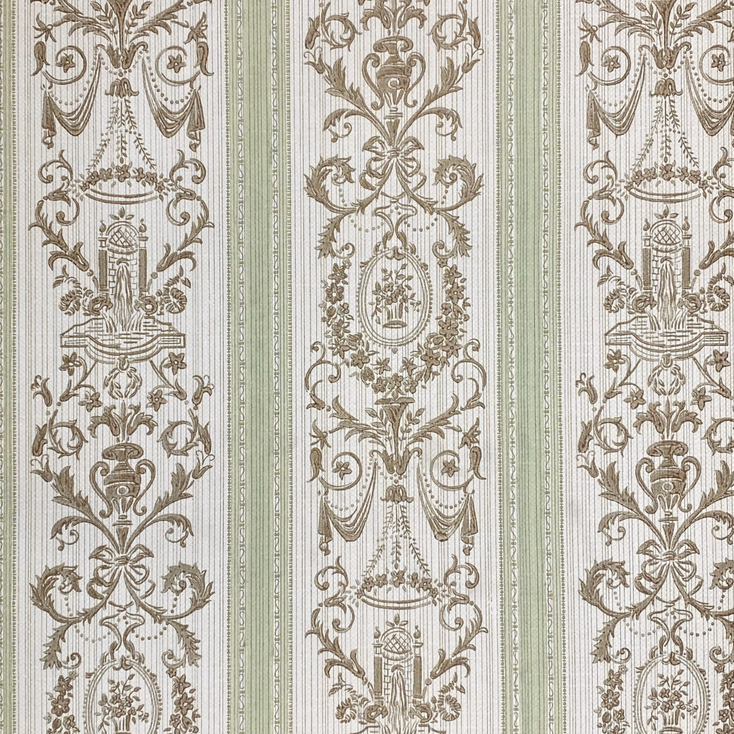 Vintage Stripe Baroque Wallpaper Brown and Green 1