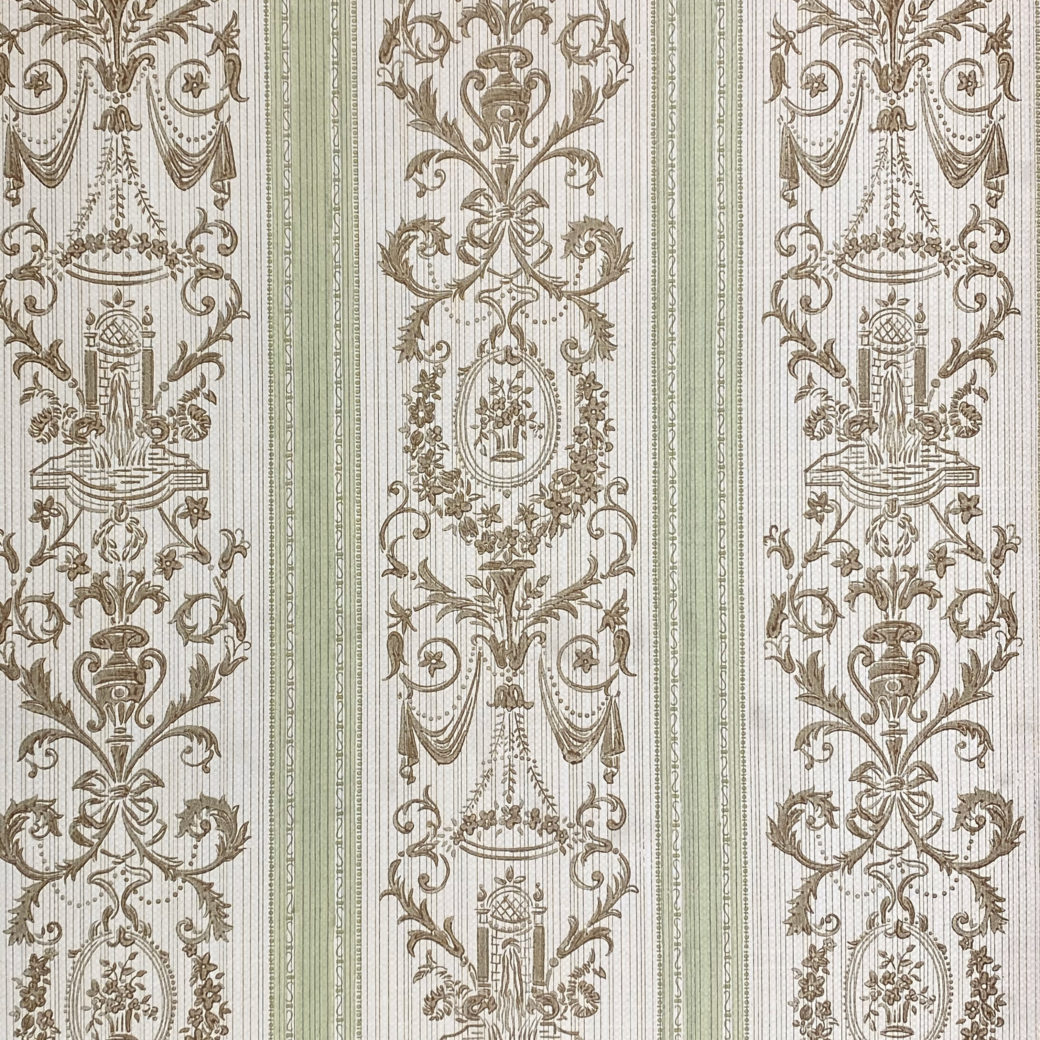Vintage Stripe Baroque Wallpaper Brown and Green 2