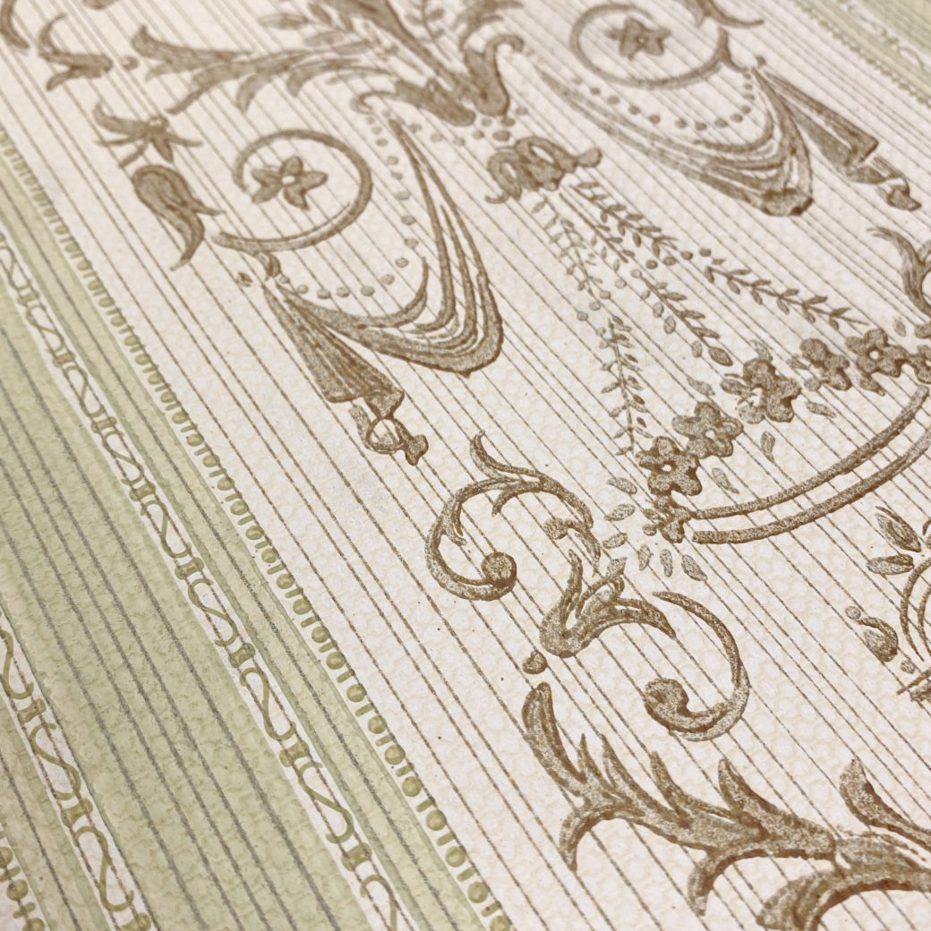 Vintage Stripe Baroque Wallpaper Brown and Green 7
