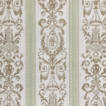 Vintage Stripe Baroque Wallpaper Brown and Green 3