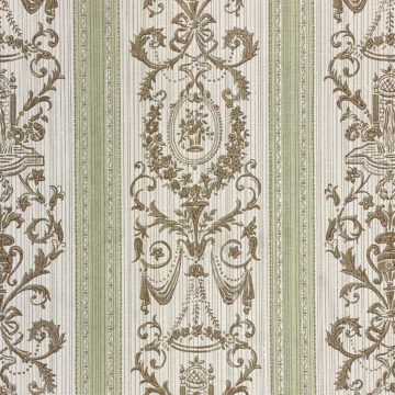 Vintage Stripe Baroque Wallpaper Brown and Green 4