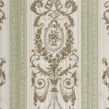 Vintage Stripe Baroque Wallpaper Brown and Green 5