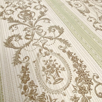 Vintage Stripe Baroque Wallpaper Brown and Green 6