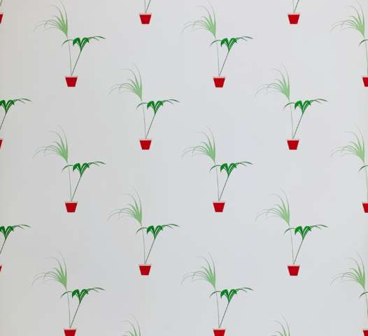 Vintage Theme Flowerpot Wallpaper