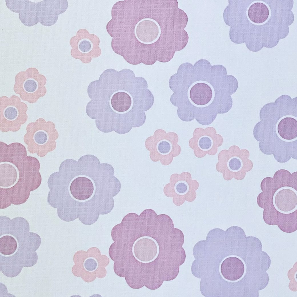 Vintage Wallpaper with Pink and Purple Flowers 9