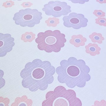 Vintage Wallpaper with Pink and Purple Flowers 10