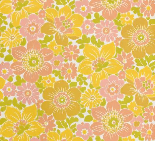 Vintage yellow and pink floral wallpaper 4