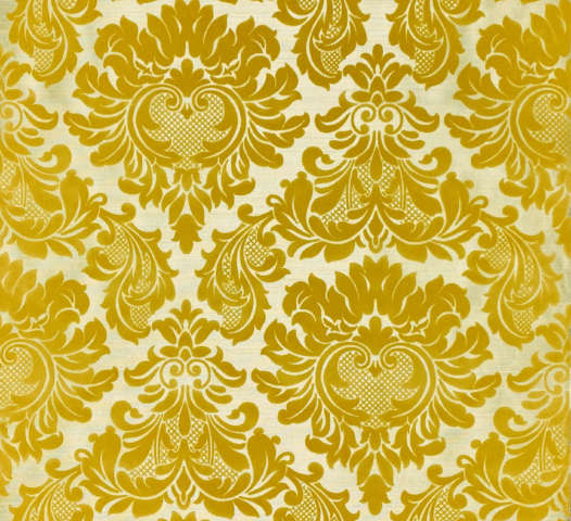 Vintage Yellow Flock Velvet Velours Wallpaper