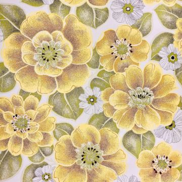 Vintage yellow floral wallpaper 2 3