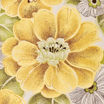 Vintage yellow floral wallpaper 6