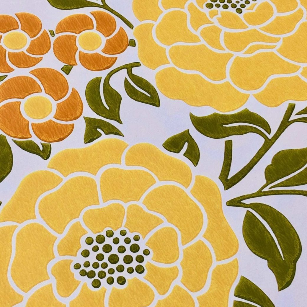 Vintage yellow floral wallpaper 1 4
