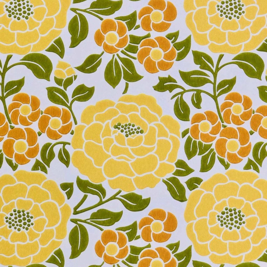 Vintage yellow floral wallpaper 2 4