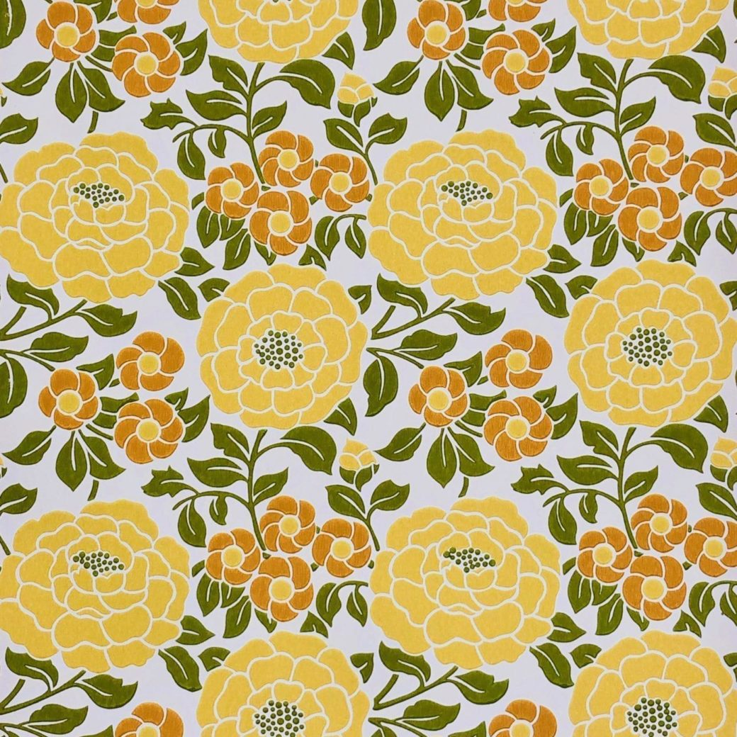 Vintage yellow floral wallpaper 7
