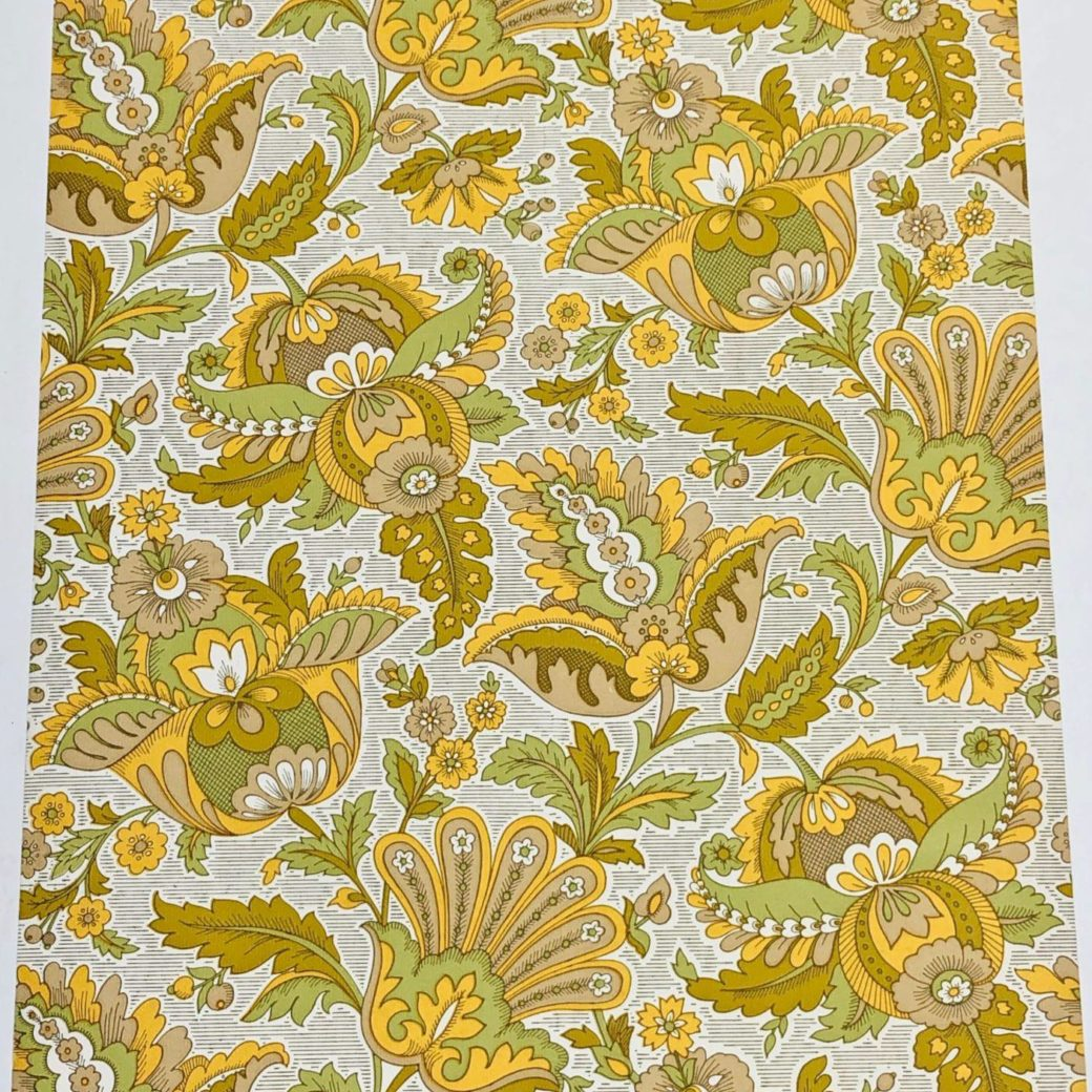 Vintage yellow floral wallpaper 1 1