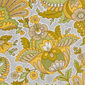 Vintage yellow floral wallpaper 3