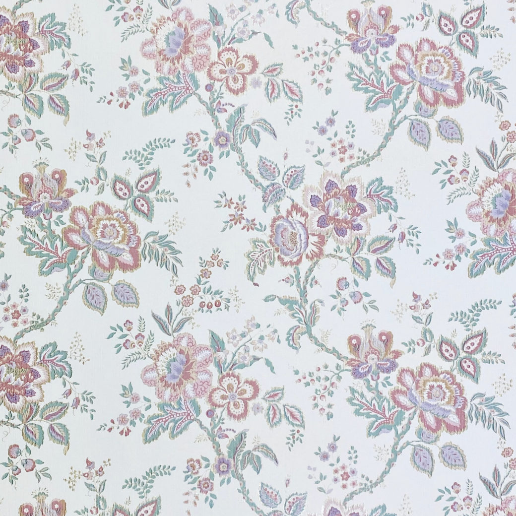 Violet Floral Wallpaper Silver Accents 2