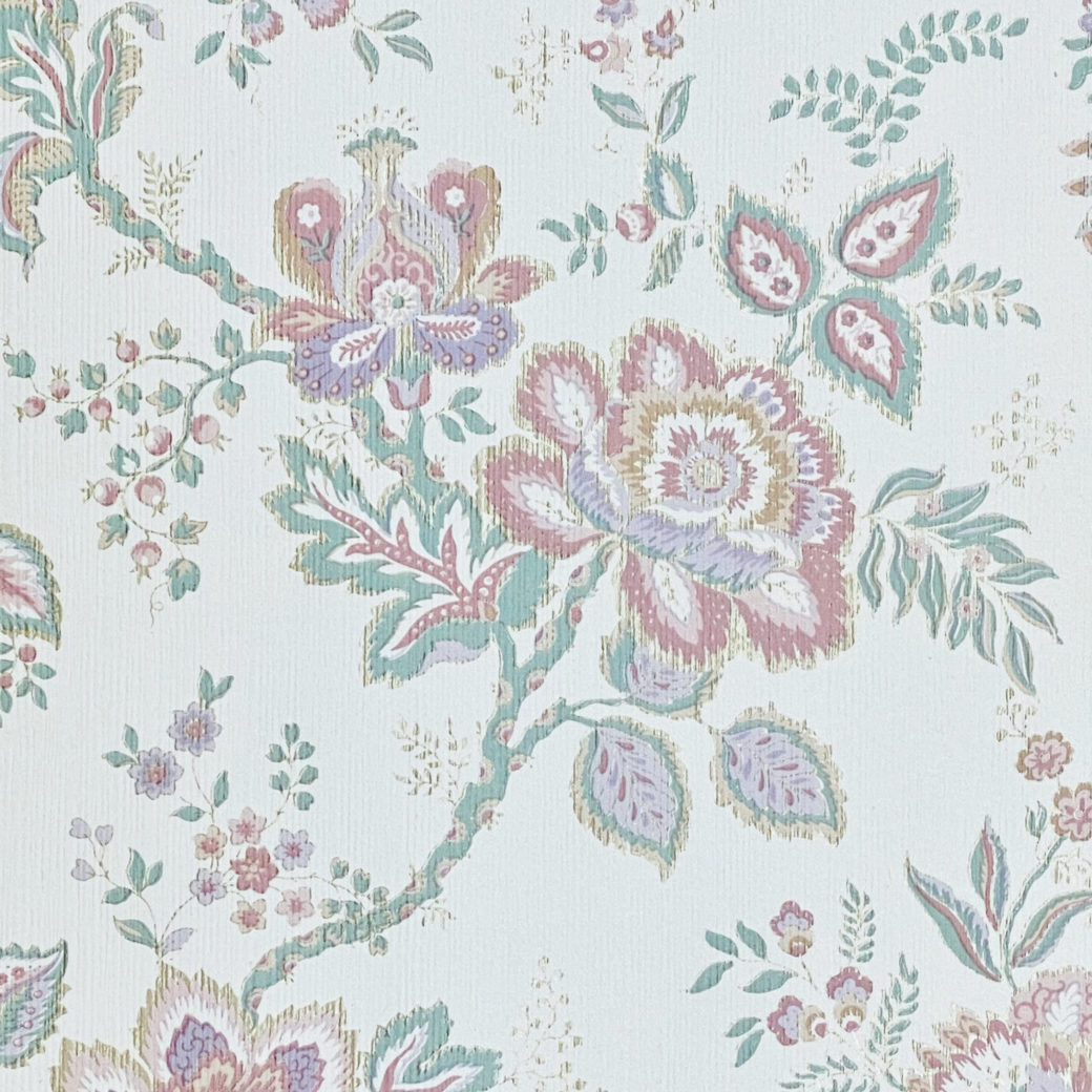 Violet Floral Wallpaper Silver Accents 5