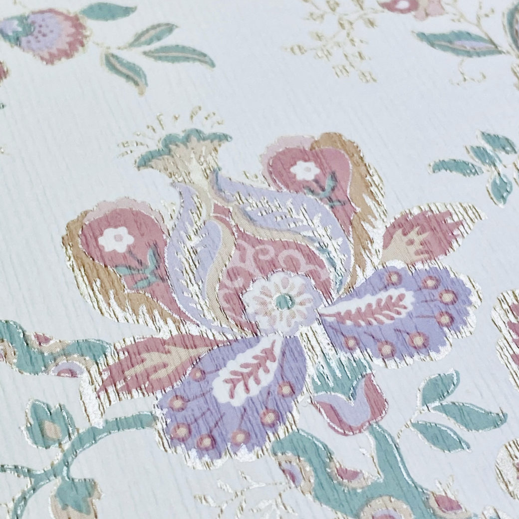 Violet Floral Wallpaper Silver Accents 8
