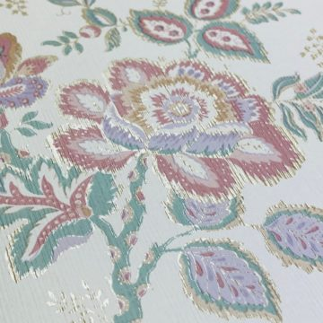 Violet Floral Wallpaper Silver Accents 7