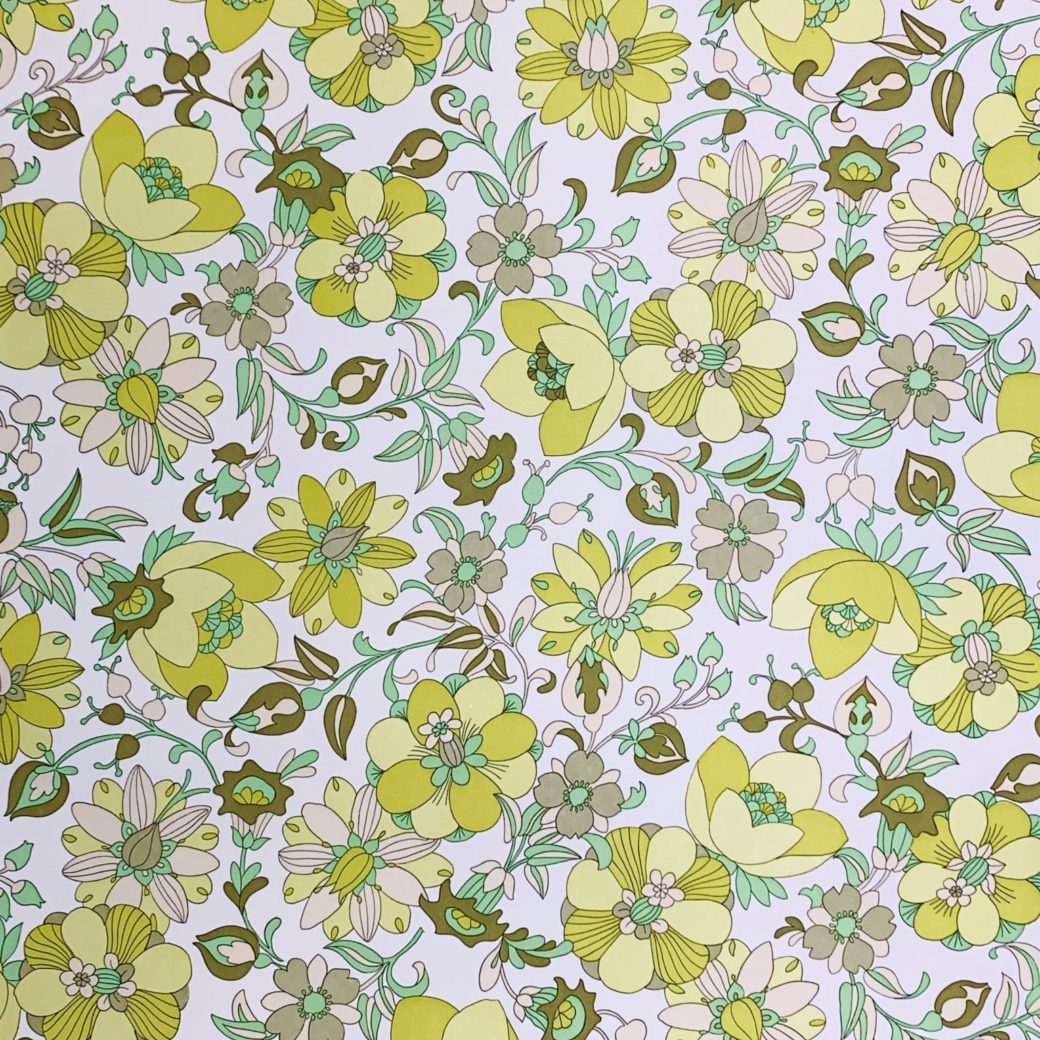 Vintage green floral wallpaper 1 1