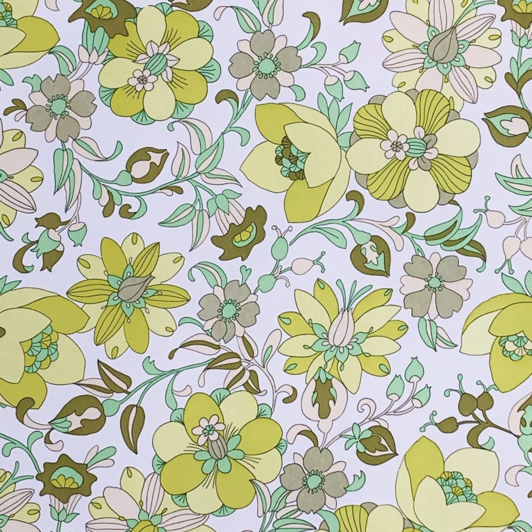 Vintage green floral wallpaper 3 1
