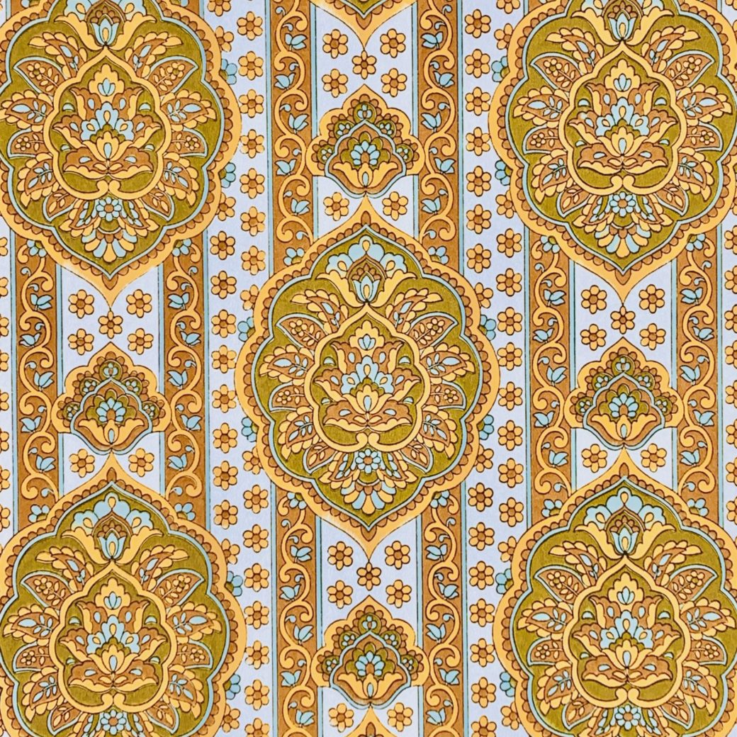Yellow medallion wallpaper 1
